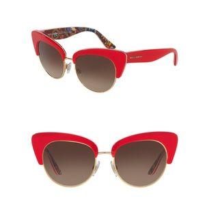 Dolce & Gabbana || 52mm Cat Eye Red Sunglasses